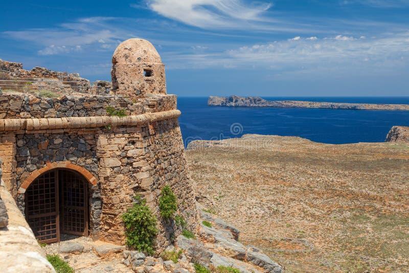 在格拉姆武萨群岛海岛克利特的威尼斯式堡垒 库存图片