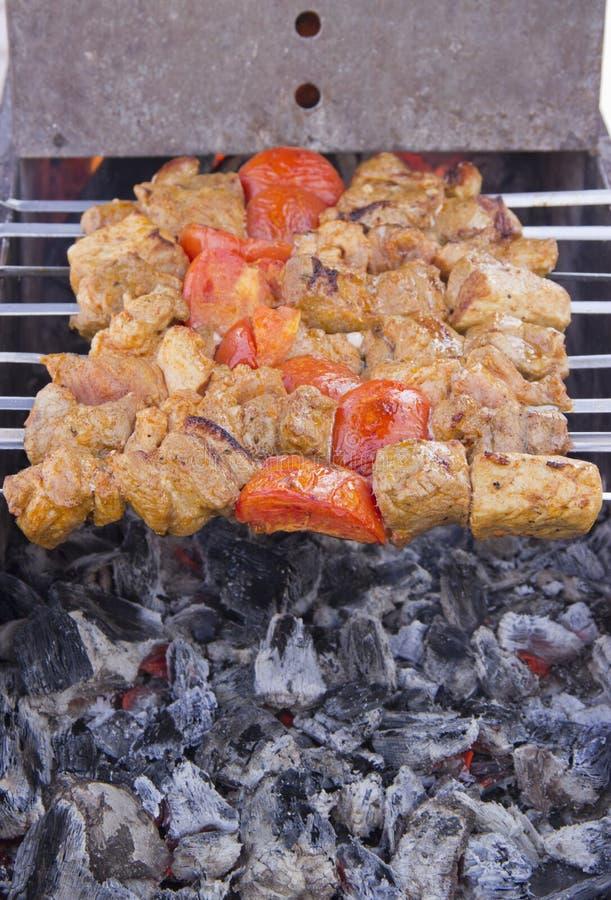 在格栅油煎的串的肉 库存照片