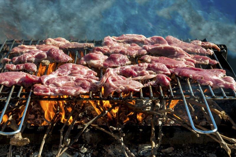在格栅的未加工的猪肉牛排 免版税库存图片