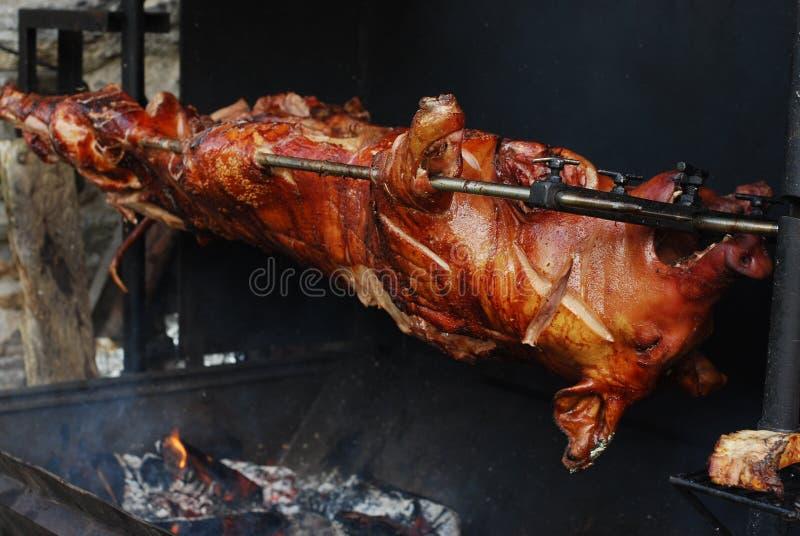 在格栅的猪 免版税库存图片