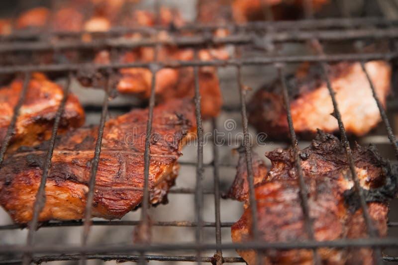在格栅的Kebabs猪肉与烟特写镜头 烤肉大块在火的 后院,休息,肉,夏天,拷贝s的概念 免版税库存图片