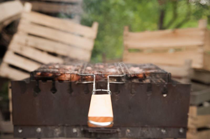 在格栅的Kebabs猪肉与烟特写镜头 烤肉大块在火的 后院,休息,肉,夏天,拷贝s的概念 免版税图库摄影