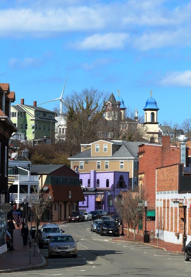 在格洛斯特上街道,马萨诸塞,海角安大城市 免版税图库摄影