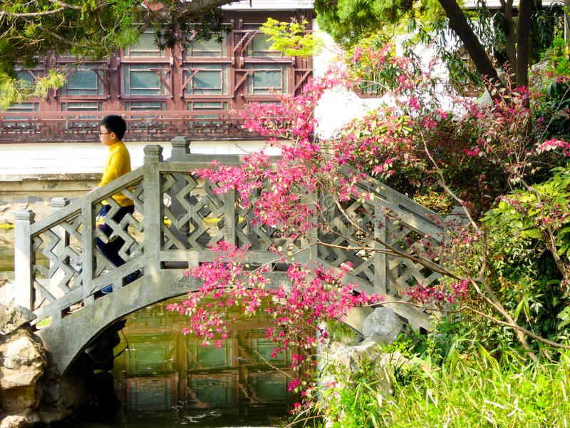 在桂林公园里面的石桥梁 库存图片