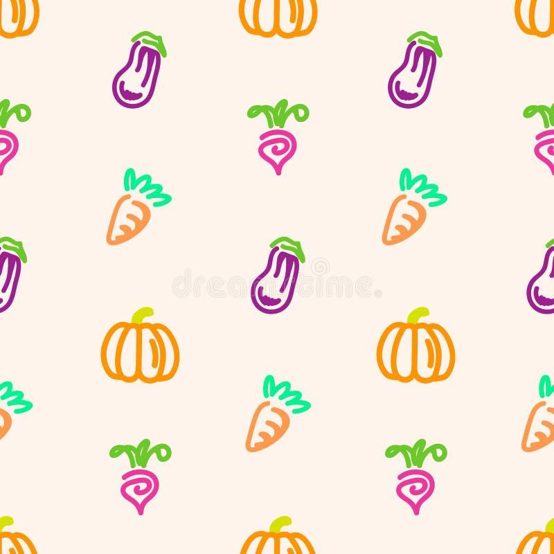 在桃子颜色背景的菜无缝的样式 免版税库存照片