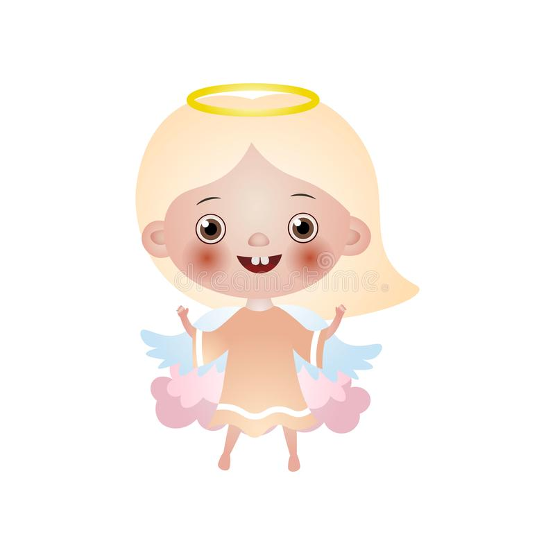 在桃红色云彩的逗人喜爱的白肤金发的愉快的女孩天使逗留 皇族释放例证