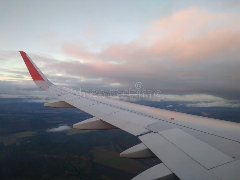在桃红色光芒日落视图的云彩从飞机 免版税库存照片