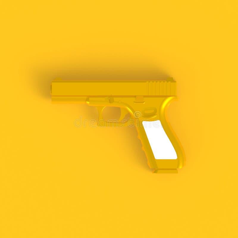 在桃红色半自动9x19手枪摘要最小的黄色背景旁边看法,战争概念 库存图片