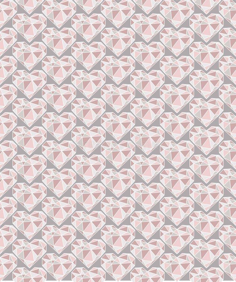 在桃红色口气的金刚石心脏无缝的样式有灰色背景 皇族释放例证