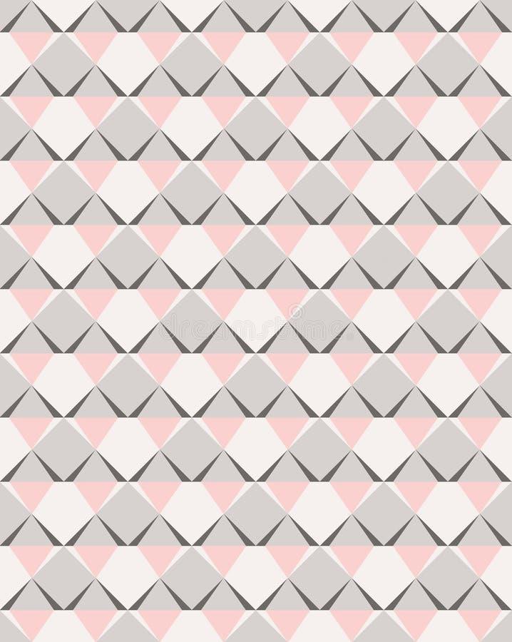 在桃红色和灰色口气的马赛克传染媒介无缝的样式几何形状 皇族释放例证