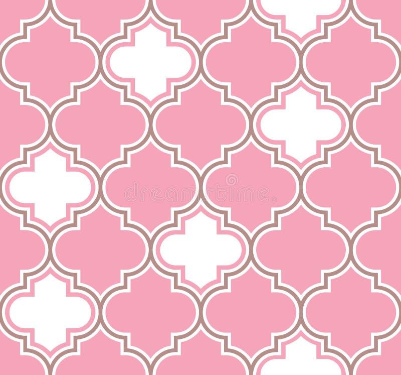 在桃红色和白色的典雅的经典摩洛哥格子样式 背景无缝的向量 为婚姻完善 库存例证
