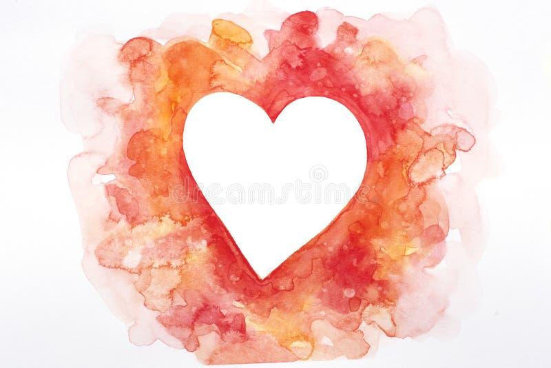 在桃红色和红色树荫的被隔绝的手拉的心脏-适用于情人节设计,卡片等 拷贝的空的心形 库存例证