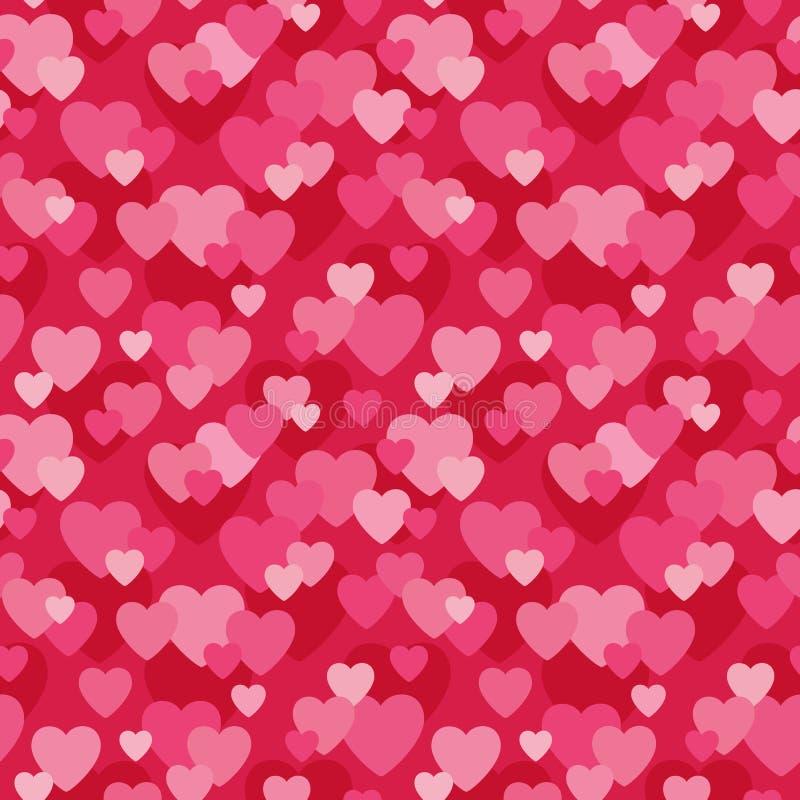 在桃红色和红色的无缝的爱心脏背景 向量例证
