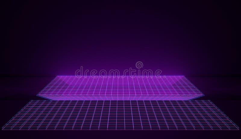 在桃红色和蓝色发光的栅格的计算机控制学的霓虹减速火箭的空间 3d回报 皇族释放例证