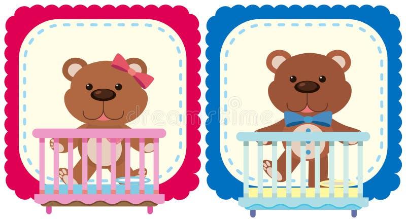 在桃红色和蓝色的玩具熊 库存例证