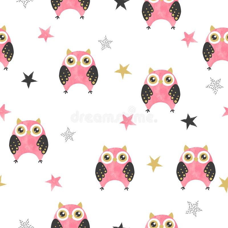在桃红色和黑颜色的无缝的逗人喜爱的猫头鹰样式 向量例证