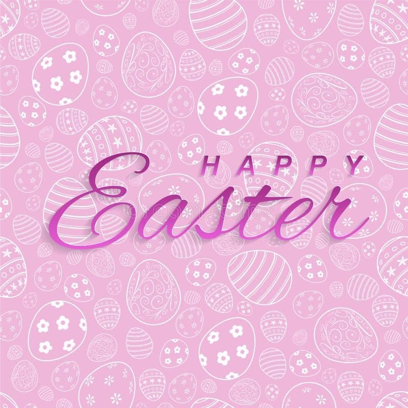 在桃红色复活节背景的愉快的复活节文本贺卡的 边界月桂树离开橡木丝带模板向量 皇族释放例证