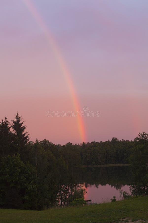 在桃红色天空的彩虹在湖森林 图库摄影