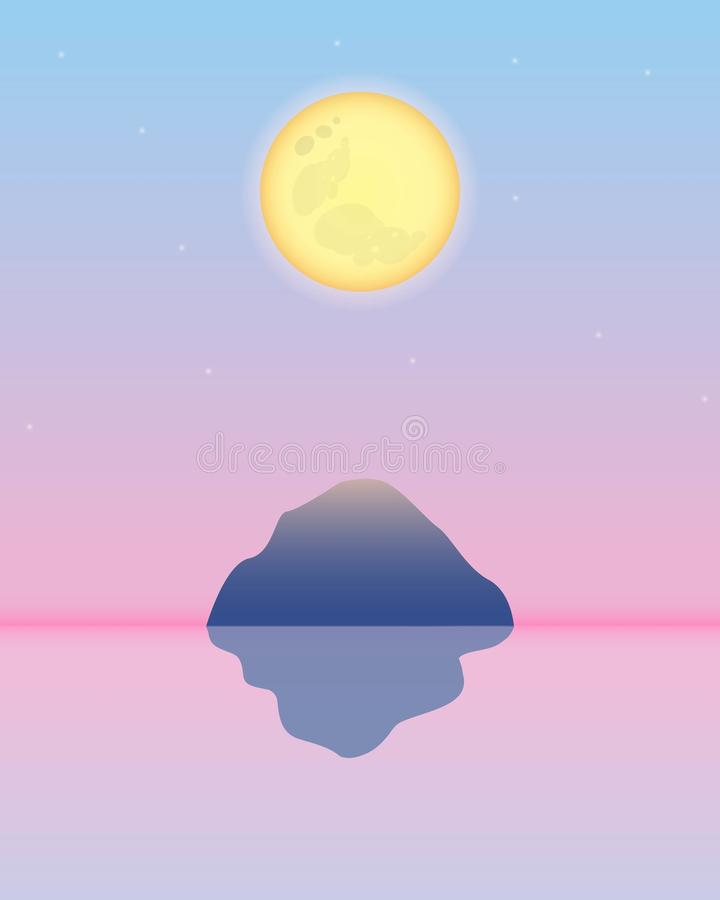在桃红色天空的满月黄色与山和他的反射在水中 皇族释放例证