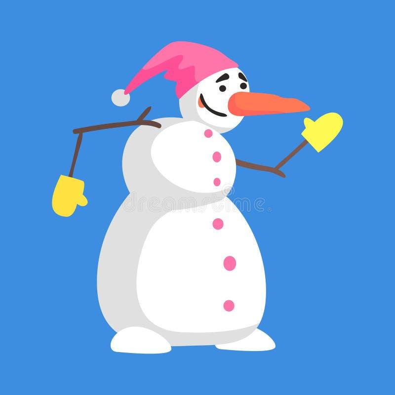 在桃红色帽子和手套漫画人物情况的活经典之作三雪球雪人 皇族释放例证