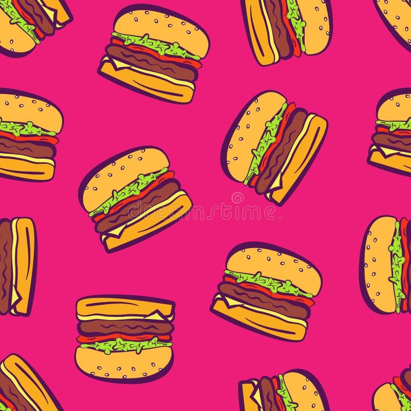 在桃红色样式的动画片流行艺术明亮的汉堡包.图片