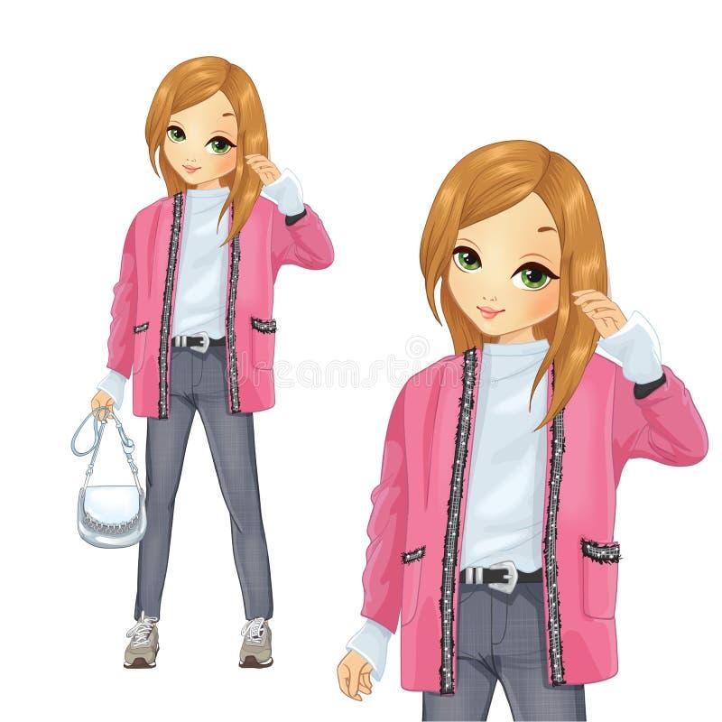 在桃红色样式长的羊毛衫的女孩礼服 向量例证