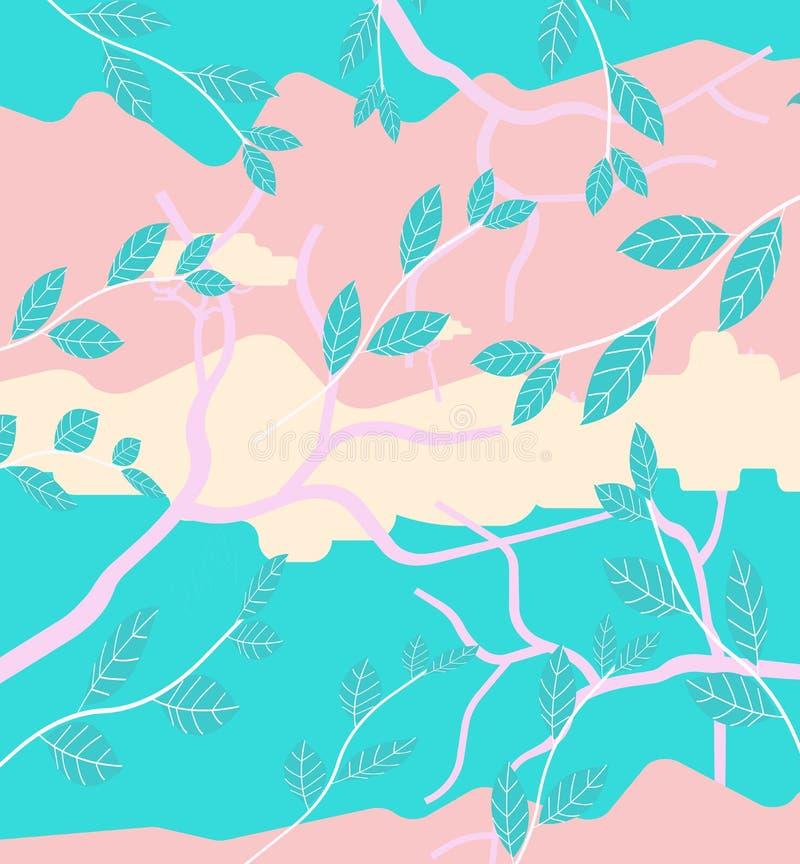 在桃红色的夏令时例证和蓝色 库存图片