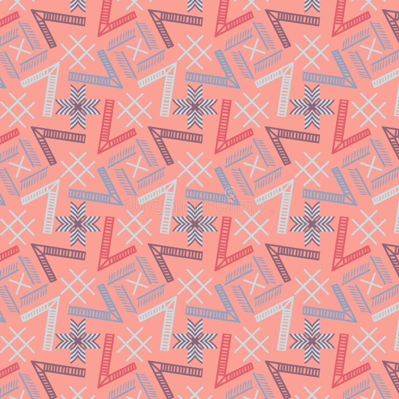 在桃红色的现代凉快的五颜六色的几何重复的样式 库存例证