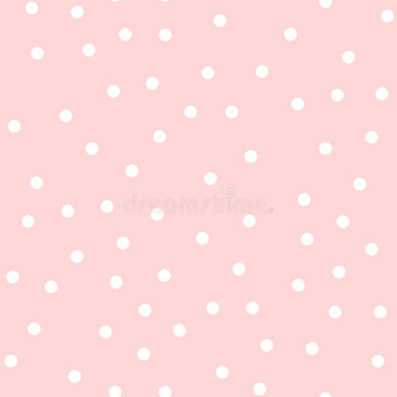 在桃红色的白色圆点无缝的样式 库存图片