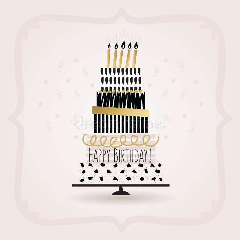 在桃红色的黑和金黄生日快乐蛋糕卡片 皇族释放例证