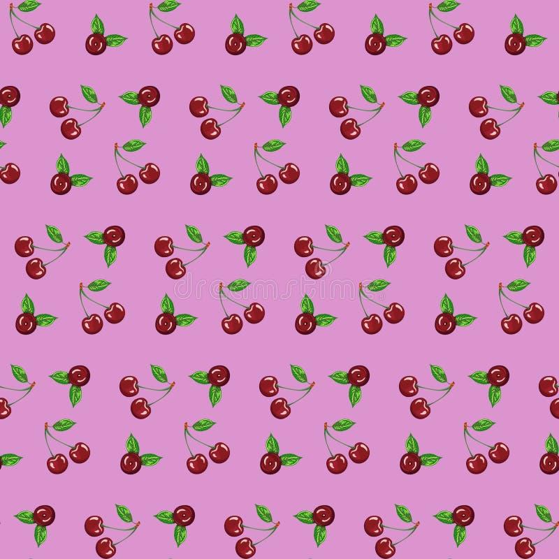 在桃红色背景传染媒介例证的无缝的样式樱桃网络设计或广告的 皇族释放例证