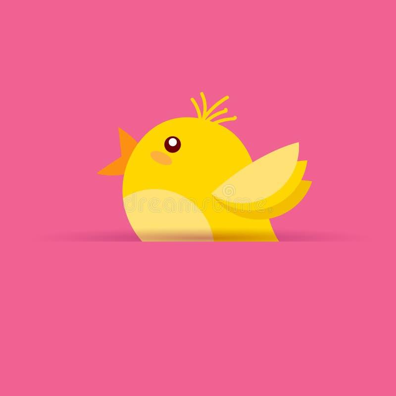 在桃红色背景复活节假日标志的逗人喜爱的黄色鸡 向量例证