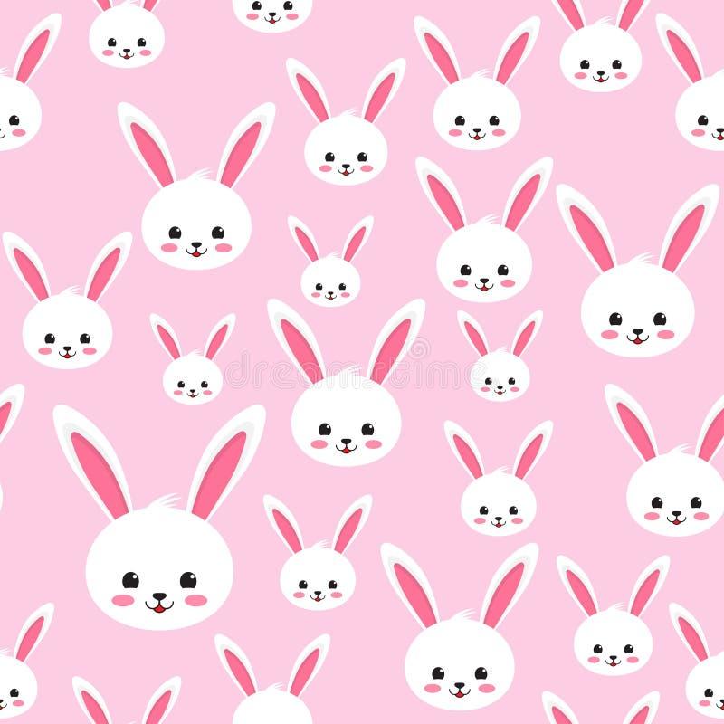 在桃红色背景的复活节兔子无缝的样式 向量例证
