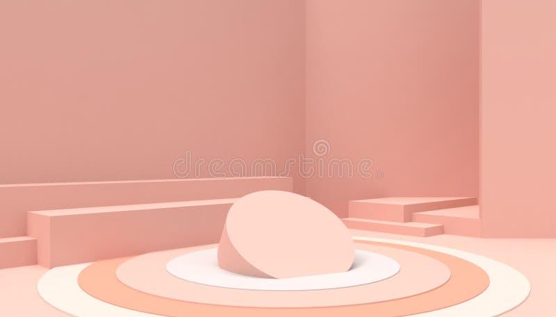 在桃红色背景的指挥台圈子几何构成形状最小和现代概念艺术桃红色墙壁场面 皇族释放例证