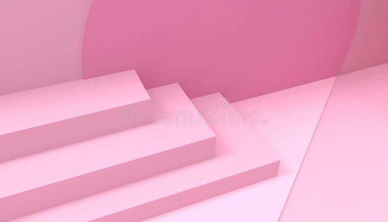 在桃红色背景的指挥台步台阶指挥台最小的几何粉红彩笔 皇族释放例证