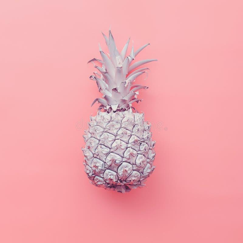 在桃红色背景的时尚假菠萝 最小的样式 免版税库存图片