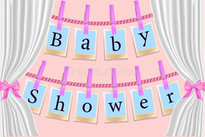 在桃红色背景的晒衣夹卡片 一个女孩的请帖BabyShower有相框的 r 库存例证