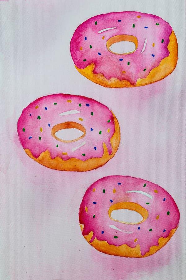 在桃红色背景的桃红色水彩油炸圈饼 淡色 向量例证