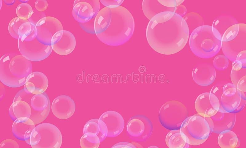 在桃红色背景的泡影 免版税库存图片