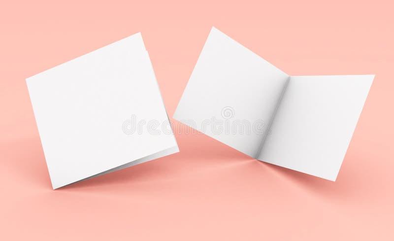 在桃红色背景的空白方形的两褶的小册子 库存例证