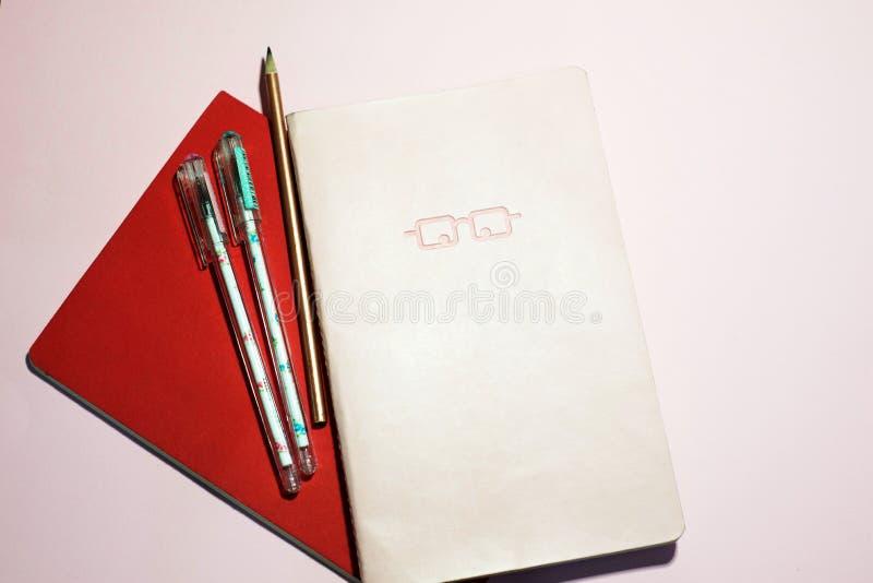 在桃红色背景的笔记本 库存图片