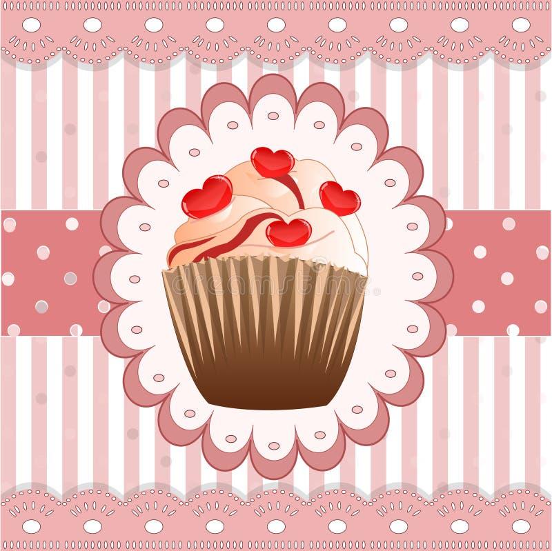 在桃红色背景的糖果杯形蛋糕 库存例证
