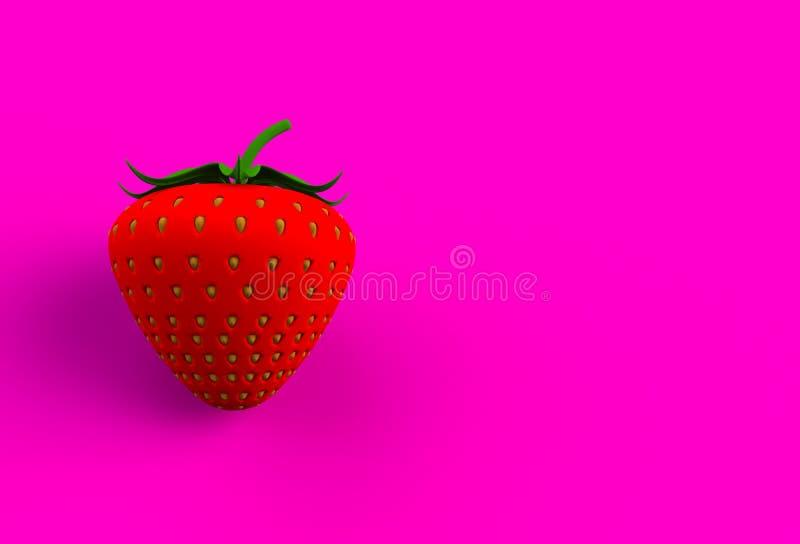 在桃红色背景的红色草莓 向量例证