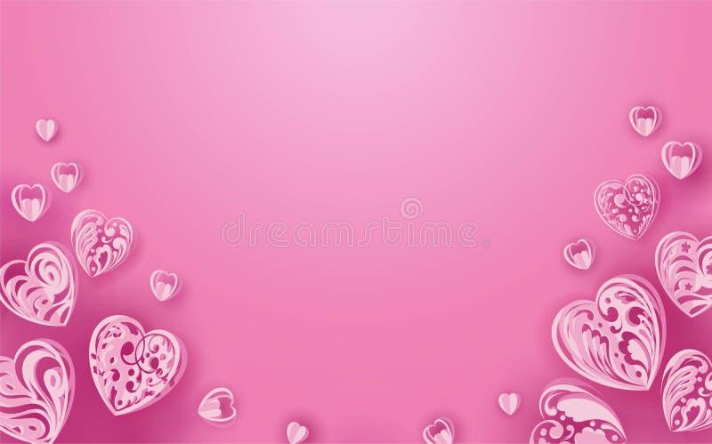 在桃红色背景的纸心脏 皇族释放例证