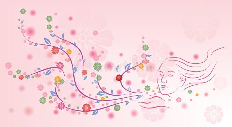 在桃红色背景的花卉设计 向量例证