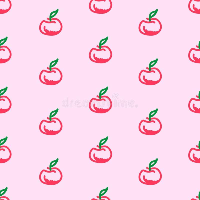 在桃红色背景的苹果计算机无缝的样式 免版税库存照片