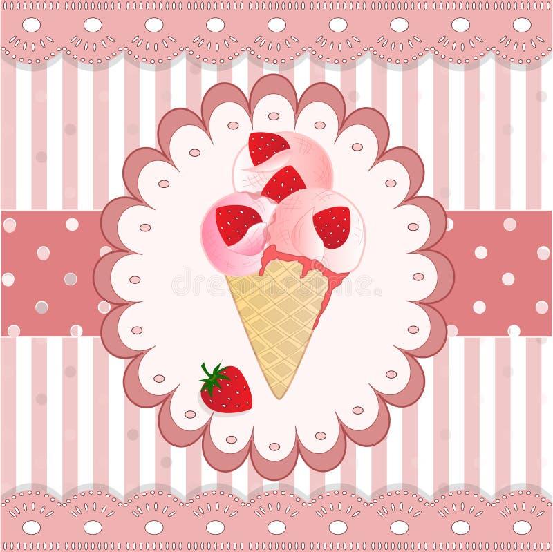 在桃红色背景的草莓冰淇凌 库存例证