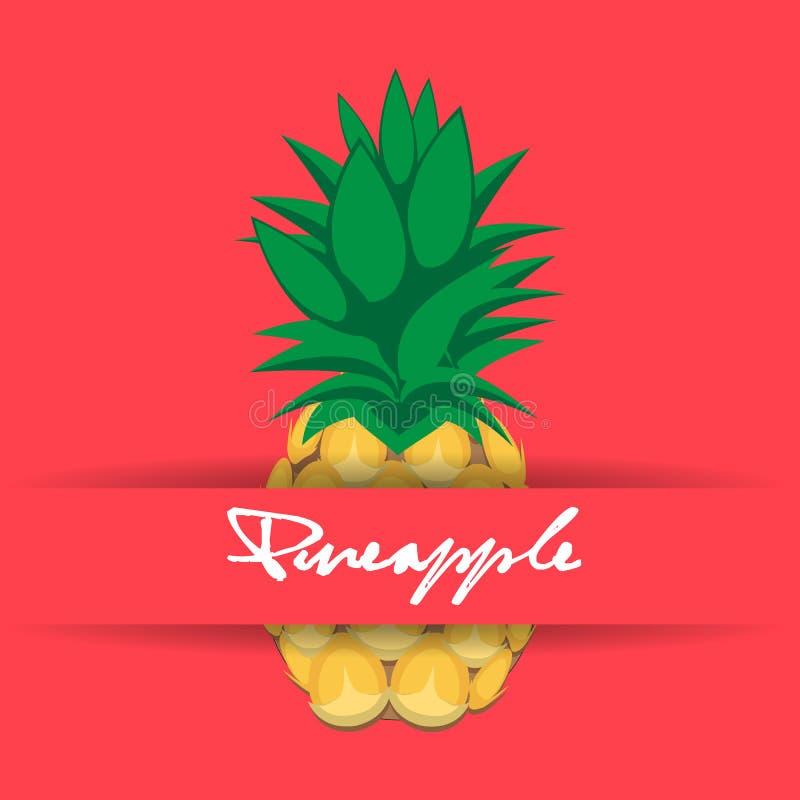 在桃红色背景的菠萝果子等高摘要无缝的样式与名字和小条 向量例证