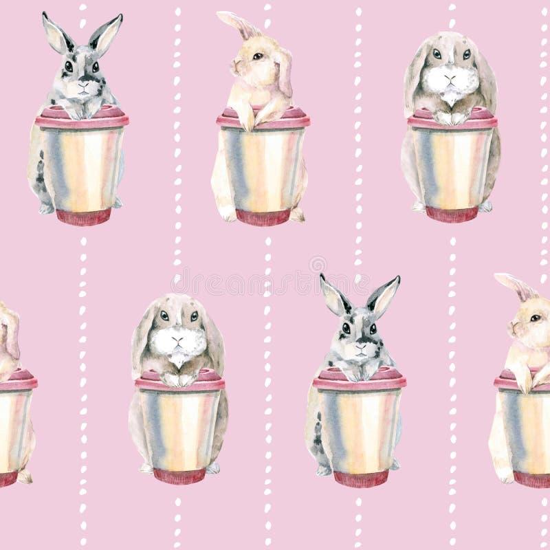 在桃红色背景的逗人喜爱的兔子 复活节兔子 柔和的无缝的样式 与一杯咖啡的野兔 皇族释放例证