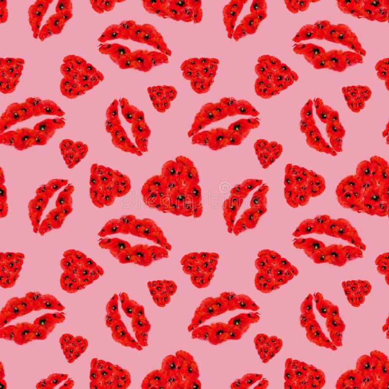 在桃红色背景的鸦片心脏和嘴唇无缝的样式 库存例证